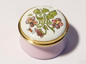 VIOLET February Month Flower Staffordshire Enamels Pill Ring Box Boxed #18