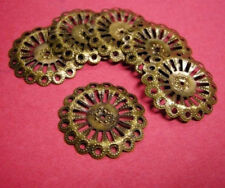 12pc 25mm antique bronze finish filigree bead cap/wrap setting-2291
