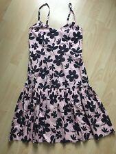 Marni Dress Blush Pink Black Floral Print Straps Cotton Summer Edition Uk 8
