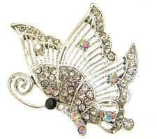 New Silver Tone Clear AB Crystal Filigree Butterfly Dress Brooch in Gift Box