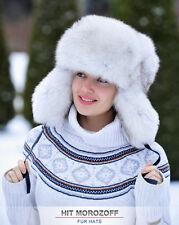 Chapka Ushanka WHITE FOX Fur Russian Hat Pelzmütze Fellmütze Saga Blue Fuchs Ski