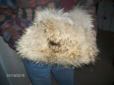 Luna Montreal Golden Racoon Fur Lined Suede Hat With Earmuffs NWOT