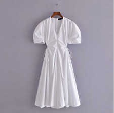 lily white V-neck short sleeves high waist wasp-waisted mid-length dress