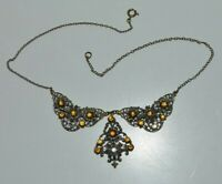 Vintage signed Czech Art Deco filigree necklace, dainty 3D flower decoration.