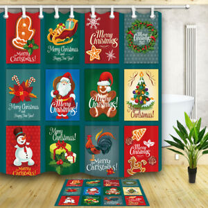 "Christmas decoration Waterproof Fabric Bathroom Shower Curtain & 12 Hooks71*71"""