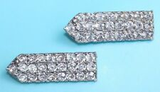 New listing Vintage Antique Clear Rhinestone Deco Silver Pot Metal Dress Clip Brooches Pins