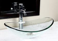 Bathroom Clear Oval Glass Vessel Vanity Sink + Chrome Faucet & Drain TB15D3
