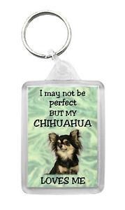 Chihuahua Keyring 'I May Not Be Perfect But...' Dog Keyfob Fun Novelty Gift-No3