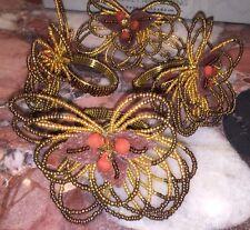 Nwt KIM SEYBERT Bronze Gold Brown Floral Beaded Dinner Napkin Rings Set of 4