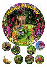 GARDEN SCENE CAKE TOPPER ROUND  7.5 + 8 EDIBLE ICED ICING FROSTING  TOPPER