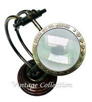Nautische antike verstellbare Messinglupe auf Holzsockel Vintage Tischlinse