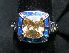 Sterling 925 Silver SF Size 6 Ring Blue Lab Fire Opal & 8mm Square Morganite