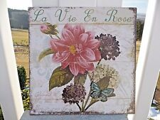 NEU Vintage Blechschild Wandbild Bild La Vie En Rose Retro 30x30cm Metall Shabby