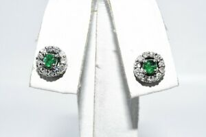 .48CT NATURAL GREEN EMERALD & DIAMOND HALO CLUSTER STUD EARRINGS 14K WHITE GOLD