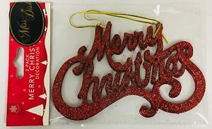 Red Sparkle Christmas Tree Decorations - Pack Of 2 Merry Christmas - Hanging Chr