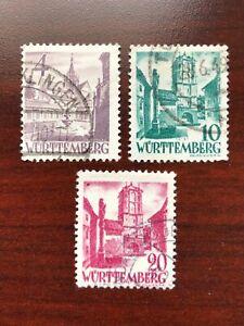 (3) Germany Wurttemberg French Occupation 1948 Scott #8N29, 8N33, 8N34 Used
