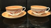 4 Piece Vintage White Gold Lusterware Cup & Saucer Bird & Flowers Japan