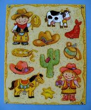 VINTAGE GIBSON CUTE WESTERN KIDS & ANIMALS 1 STICKER SHEET