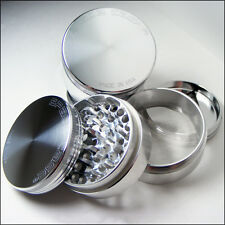 """Space Case Herb & Tobacco Grinder Large 3.5"""" Inch 4 Piece Sifter Aluminum Silver"""