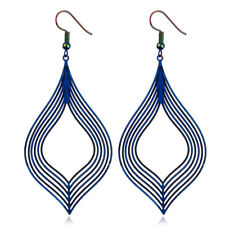 Vintage Stainless Steel Jewelry Dangle Earring Dazzling Striped Dull Polished