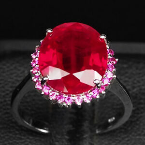 RUBY BLOOD RED OVAL 7.30 CT. 925 STERLING SILVER RING SIZE 6.25 JEWELRY GIFT