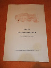 Speisekarte Steigenberger Hotel Frankfurter Hof Frankfurt a Main vom 20. 7. 1962