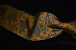 Gieves & Hawkes Hand Sewn Ancient Madder Burnt Mustard Brocade Floral Silk Tie