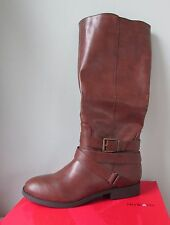 NEW Style & Co. Lolah Boots Cognac Brown Moto Strap Buckle Faux Leather Vegan