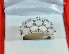 """NATURAL"" AUSTRALIAN WHITE OPALS PLATINUM OVER SOLID 925 S.S.CLUSTER RING SIZE 7"