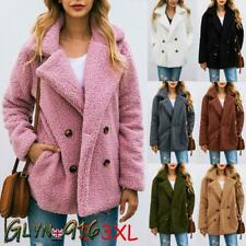 Women Ladies Fleece Coats Teddy Bear Fur Baggy Warm Jacket Winter Fluffy Outwear