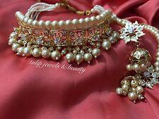 Indian/Pakistani  Hyderabadi Nazam Jewellery Gold Plated Choker & Jhumki Set