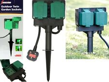 2 WAY GARDEN 4M CABLE EXTENSION TWIN SOCKET WITH STAND OUTDOOR WATERPROOF LEAD