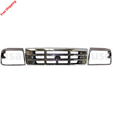 New For FORD F150 F250 BRONCO Fits 92-96 Front Grille Headlamp Door Chrome 3PCS