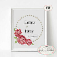 Wedding records Pearls and Roses Embroidery Cross stitch PDF Pattern #262