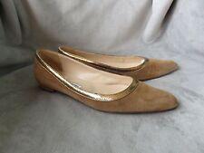 Women's Manolo Blahnik Brown Beige Suede Shoes - Size  9.5 M