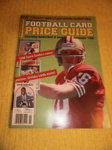 Football Card Price Guide November 1990 w/ uncut cards Joe Montana Rice Everett