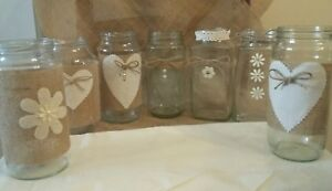 12 large wedding table Jar candle Centerpieces Hand Decorated Rustic/Vintage