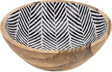 20cm Wood Decor Bowl With Internal Black Zebra Print Potpourri Bowl Fruit Bowl