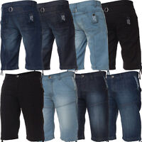 Kruze Mens Denim Shorts Regular Fit Summer Half Jeans Pants Waist Sizes 28-46''
