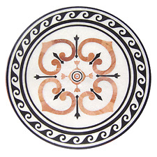 """24"""" White Marble Coffee Table Top Marquetry Stone Pietra Dura Inlay Home Decor"""