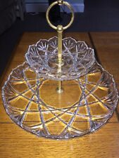Crystal glass Two-tiered Gold Trim condomint tray awesome must see