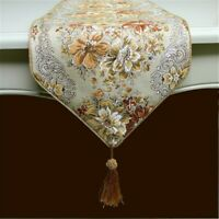 Jacquard Table Runner Vintage Floral Tablecloth Tassel Kitchen Dining Decor Arts