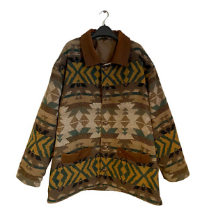 Vintage Navajo Inca Aztec Retro Patch Wool Leather Winter Bomber Jacket Coat