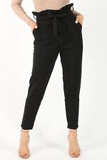 Womens Ladies Belted Paper Bag Trousers Tie up High Waist Cigarette Slim Bottoms Black 10