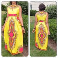 Moxeay Women Traditional African Print Beach Dress Dashiki Boho Maxi Long Dress