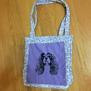 Cavalier King Charles Spaniel Dog Tote Bag Fabric Purple with Rose Background