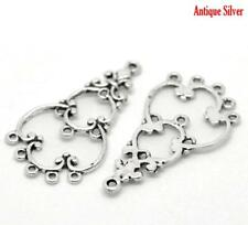 10 x Chandelier Connectors Antique Silver Earring Findings - Cabochon Settings