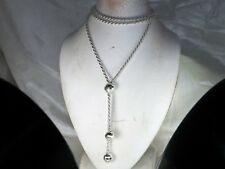 """Milor Italy Sterling Silver .925 Lariat Style Rope Chain Dangle Necklace-28"""""""