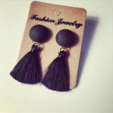 Vintage Thread Tassel Fringe Earrings Pearl Women Drop Dangle Earrings Jewelry