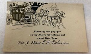 1920s Vintage Christmas New Years Yuletide Greeting Card Horse Drawn Carriage